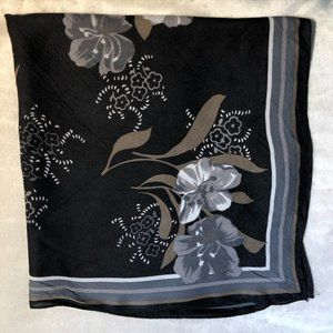 Gray and Black Floral Square Scarf